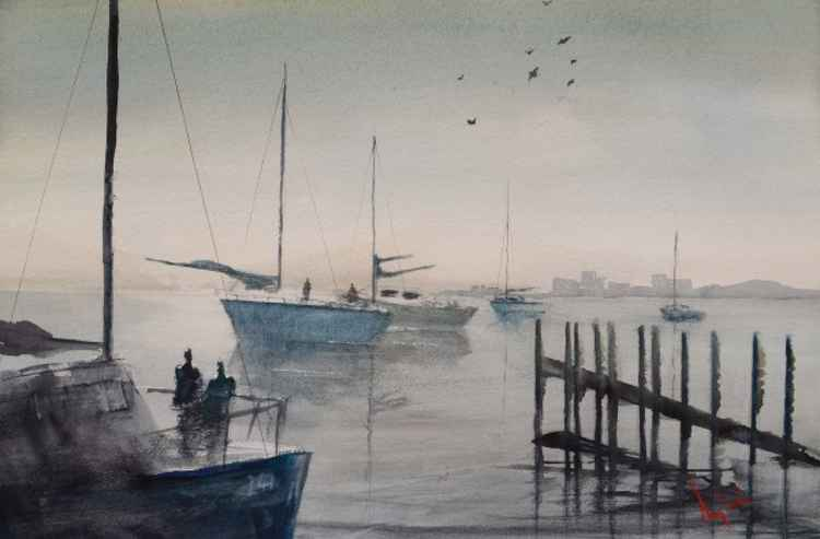 Early Morning On The Water - Original Watercolour Painting