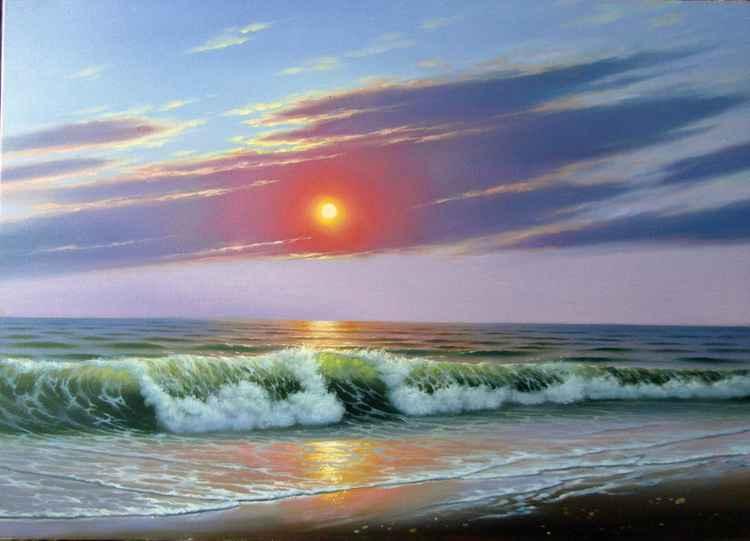 Sunset, Original oil on canvas