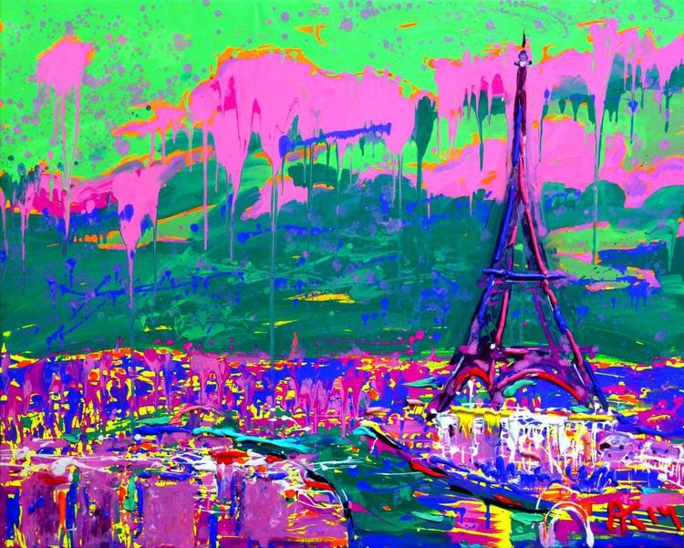 Paris, large oil painting, 100x80 cm - Image 0