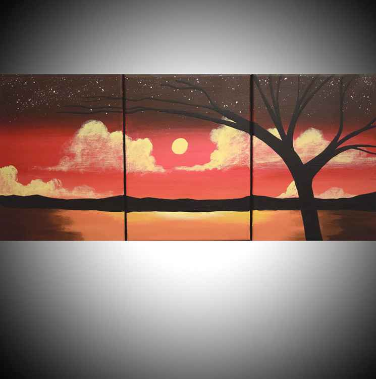 "triptych 3 panel wall art colorful images ""At Sundown"" 3 panel canvas wall abstract canvas pop abstraction 27 x 12"""