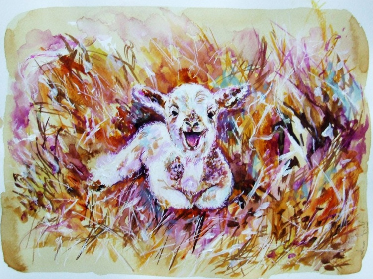 Original Watercolour painting of a White Sheep - Image 0