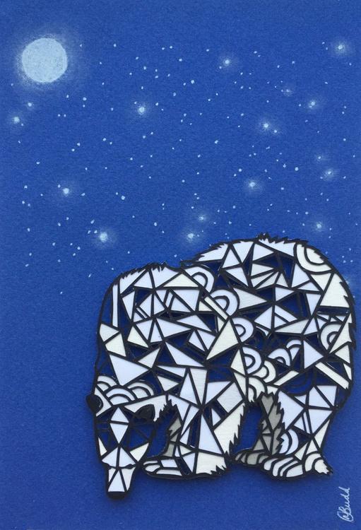 Papercut Geometric Polar Bear (Framed) - Image 0