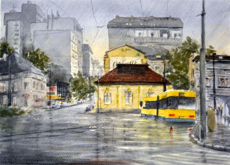 Rain on Slavija square - original watercolor painting by Nenad Kojić - Image 0