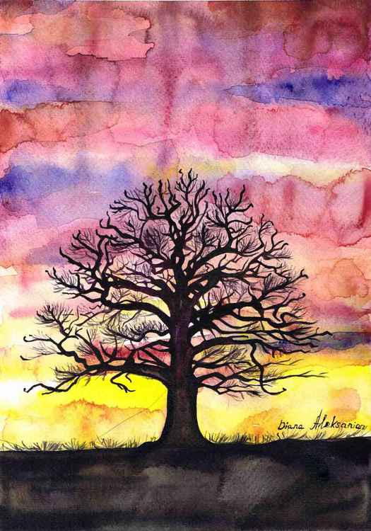 """Tree in Sunset"" Original Watercolour Painting, home interior, home decor, Gift Idea"