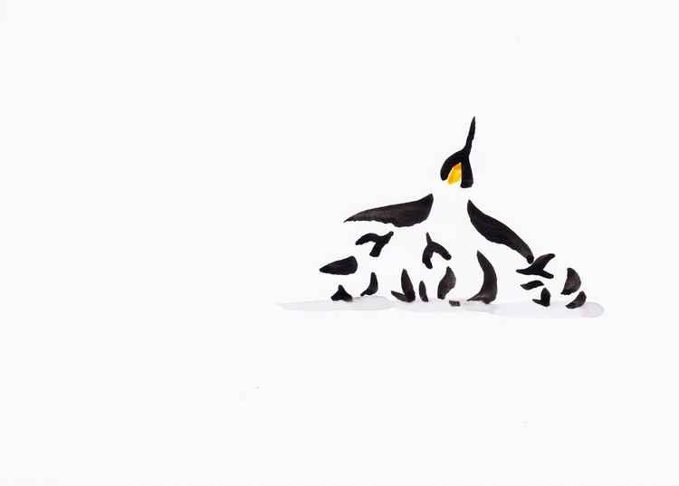 Penguin and three chicks 2115B