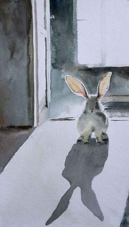 """Eared gest"", original watercolour painting, 23x40cm -"