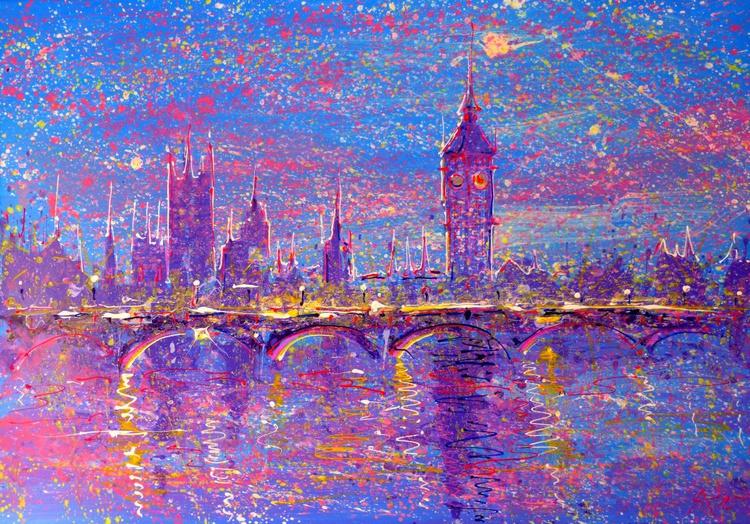 morning London, large painting 100x70 cm - Image 0