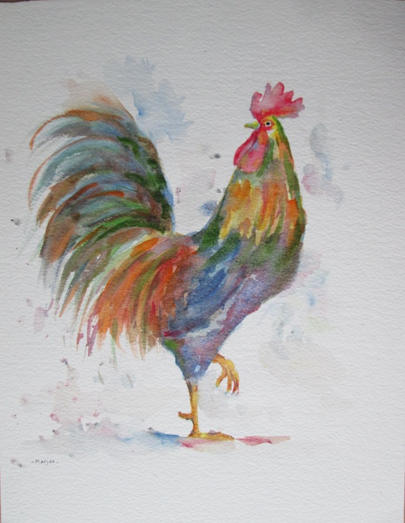 """""""PROUD"""", Farm Animal Chicken Rooster original watercolour - Image 0"""