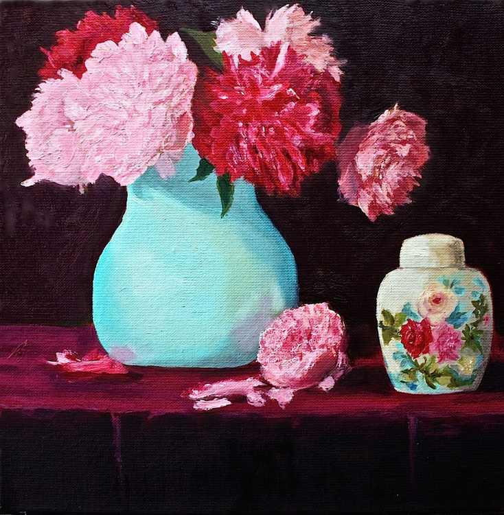 Painted Roses, Real Peonies - Image 0