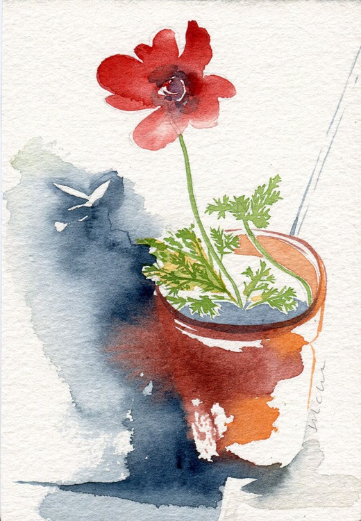 Original Framed Watercolour Painting of Anemone and Moth - Image 0