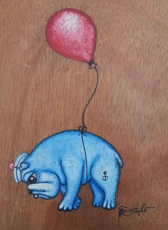 Sailor Bulldog with a Balloon