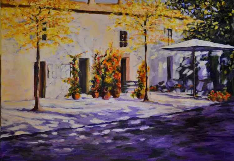 Ristorante Vignoni wg .J.Hammonda, akryl na płótnie, 50 x 70