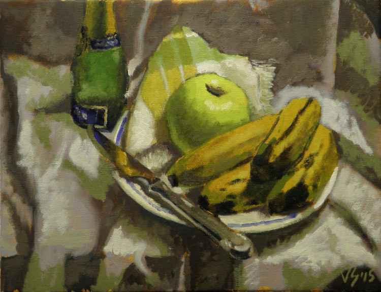 Plàtans, poma i ganivet
