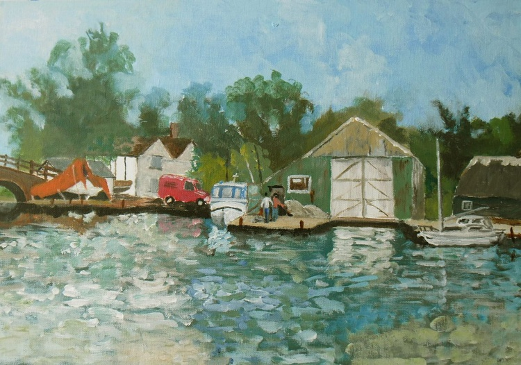 Boat repairs at Ludham, Norfolk. An original acrylic painting in impressionist style! - Image 0