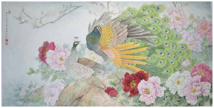 Peacock and Peony Dancing under Spring Sunshine - Original Chinese Painting by Qin Shu