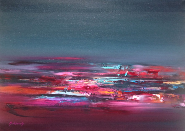 Inner Light - 50 x 70 cm, abstract landscape oil painting, purple, magenta, turquoise, orange - Image 0