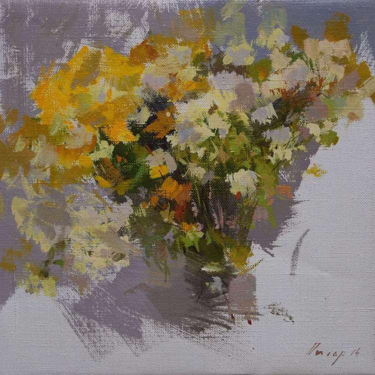 """Contemporary painting of daisies """" Bouquet of Autumn """" ( 135sl14 ) - Image 0"""