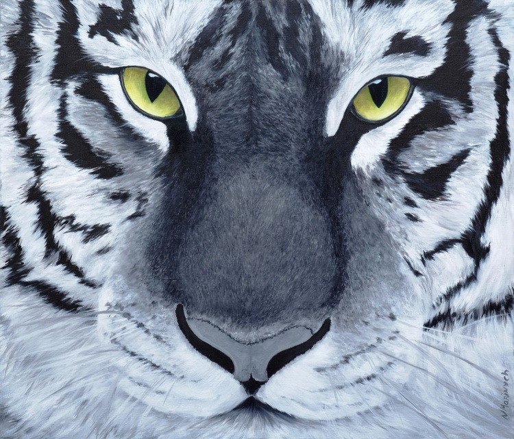 Original artwork Abstract tiger, animal painting, wild nature, tiger, cat - Image 0