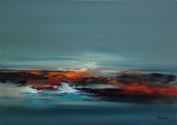 Melting Ice - 50 x 70 cm, gray, brown, turquoise, orange abstract landscape oil painting - Image 0