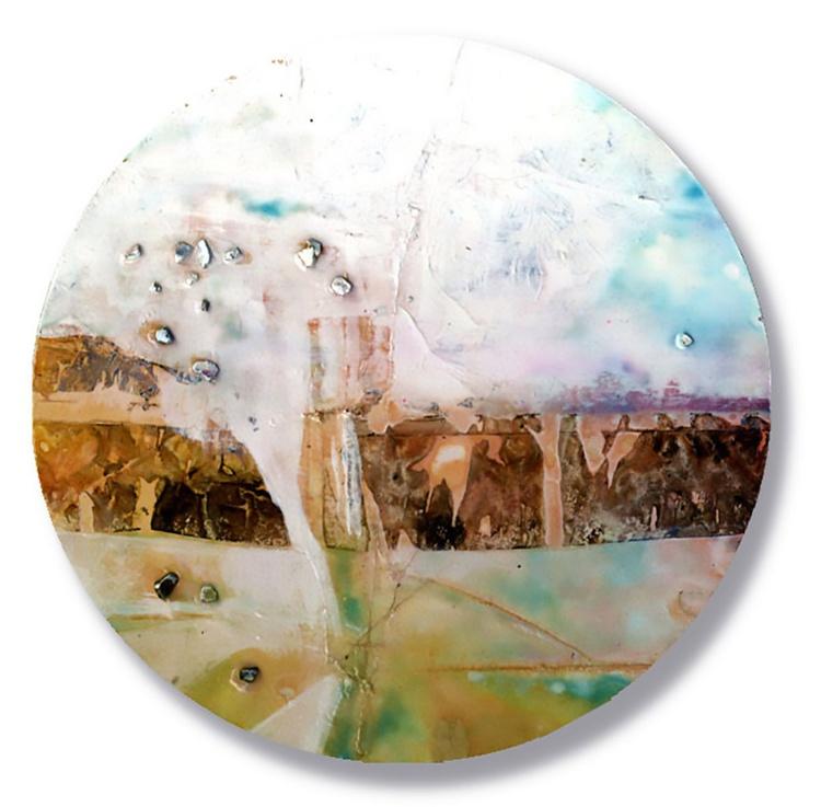 Abstract Painting - Mixed Media - Circle Abstraction Series . No. 18 - Image 0