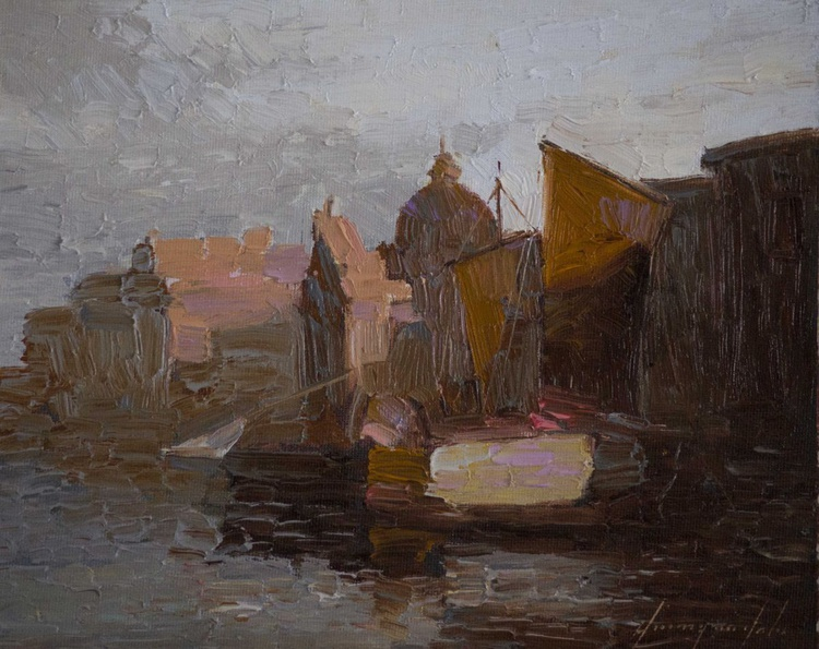 Venice in the Evening Handmade oil painting on Canvas One of a Kind - Image 0