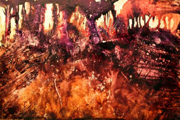 Burning Trees - 12 x 9 -