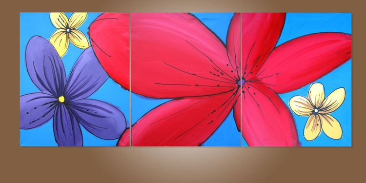 """HUGE triptych abstract original """"Floral Hacienda"""" abstract flower painting art canvas - 48 x 20 inches - Image 0"""