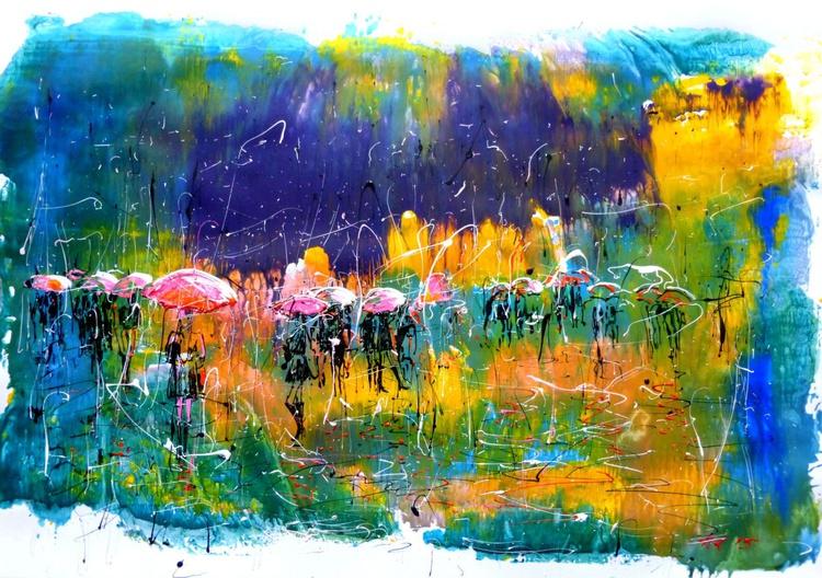 Rain Music. 100x70 cm. acrylic on paper. unframed - Image 0