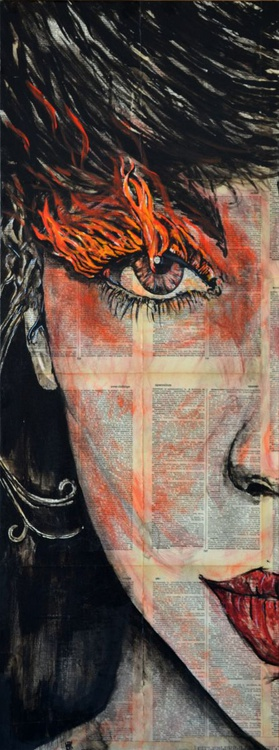 Fire - Original Acrylic Painting on Decoupage Deep Canvas Ready To Hang - Image 0