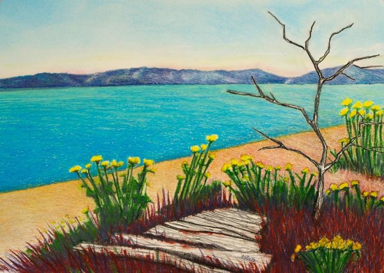 Seaside Vashon Island Beach with Flowers, Original Pastel Landscape - Image 0