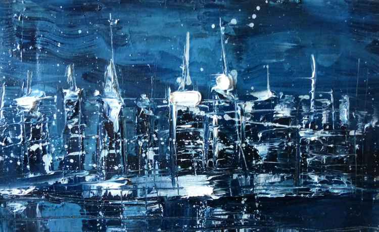Night city, oil painting 35x20 cm -