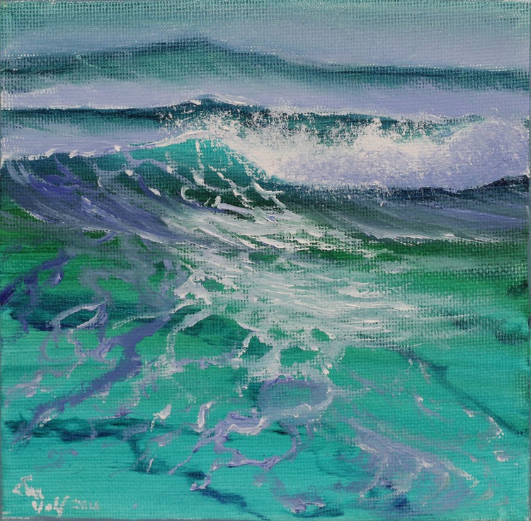 """Ocean Waves III 6x6"""" small seascape oil painting on canvas - Image 0"""