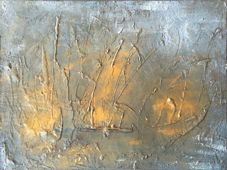 Textured abstract painting the kiss - Image 0