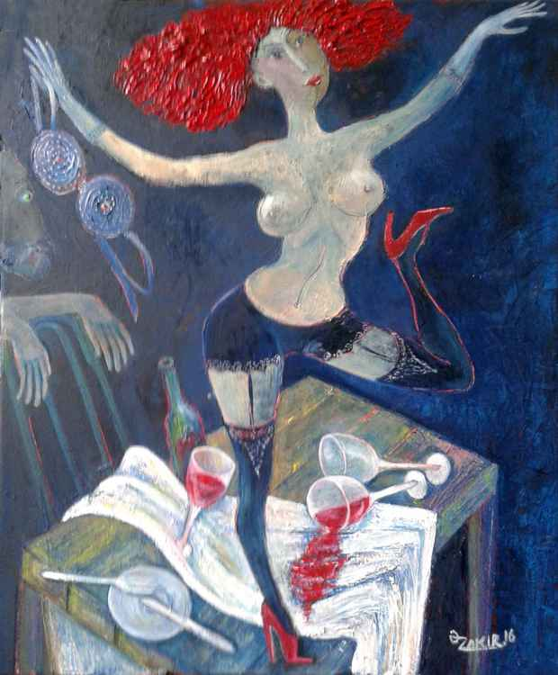 Cabaret 2016yea 23X19in Original Painting Oil on Canvas FOR SALE