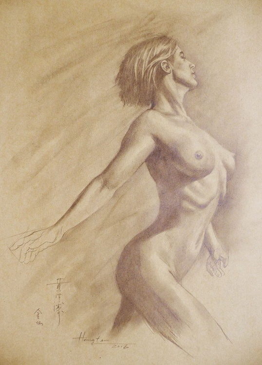 ORIGINAL DRAWING PENCIL  ART NAKED GIRL  ON BROWN PAPER#16-6-13 - Image 0