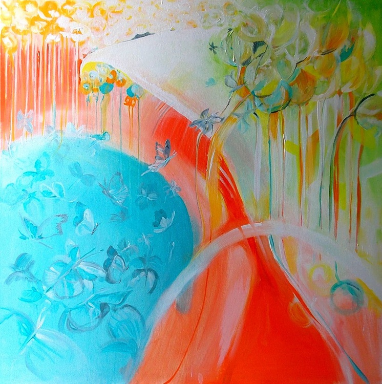Butterfly dream -  Large square painting  80 x 80 cm. - Image 0