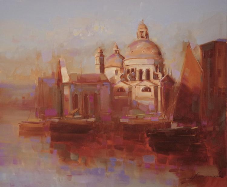 Santa Maria Della Salute Venice Original oil painting  Handmade artwork One of a kind - Image 0