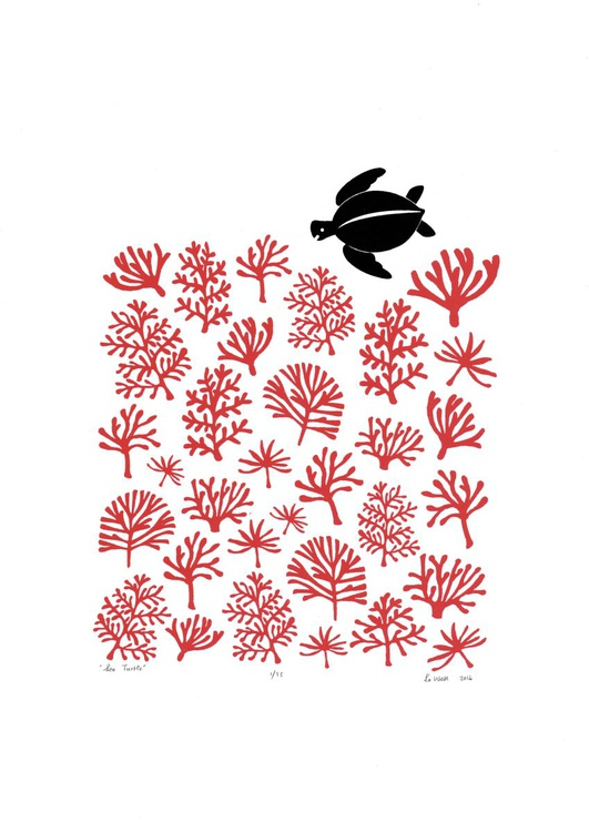 Sea Turtle A3 size in Aurora Red - Unframed - FREE Worldwide Delivery - Image 0