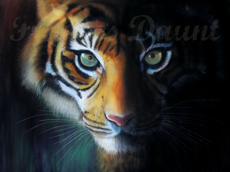 Chatoyant, framed pastel picture of a tiger - Image 0
