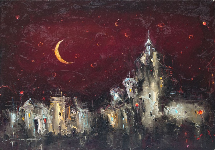 Balkan silhouettes, Modern oil Painting, free shipping - Image 0