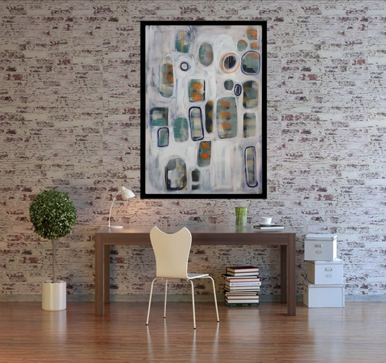 Large gray abstract painting 110×160 cm acrylic on unstretched canvas J64 art original artwork - Image 0