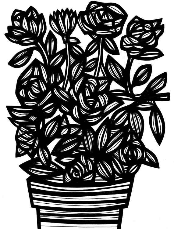 Jocular Floral Flowers Original Drawing -