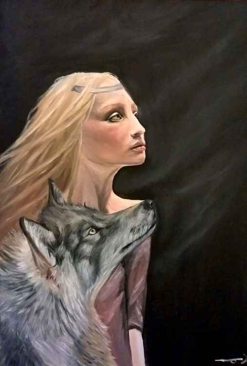 Girl with a wolf -
