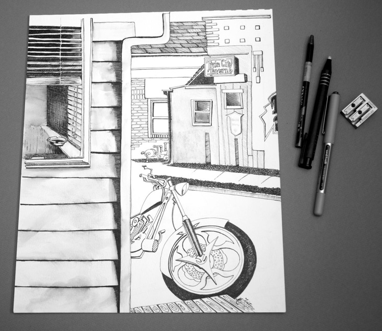 Twin City Tavern with Motorcycle, Original Pen & Ink Drawing - Image 0