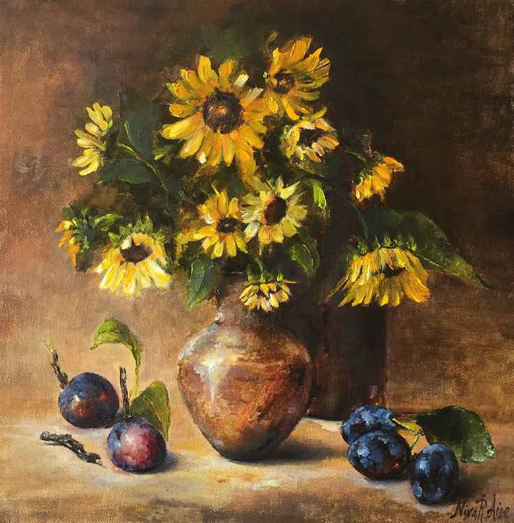 Sunflowers and Blue Plums