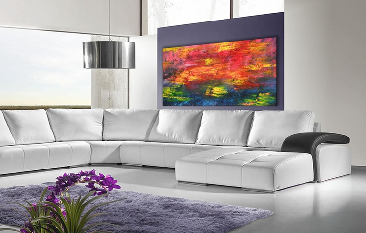 Alive - 101x56 cm, Original abstract painting, oil on canvas - Image 0
