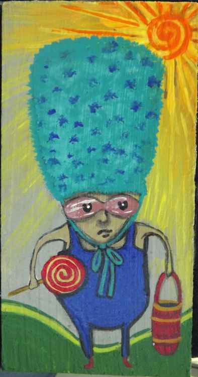 Blue Hat Weirdie with Lollipop Original Painting on Wood -