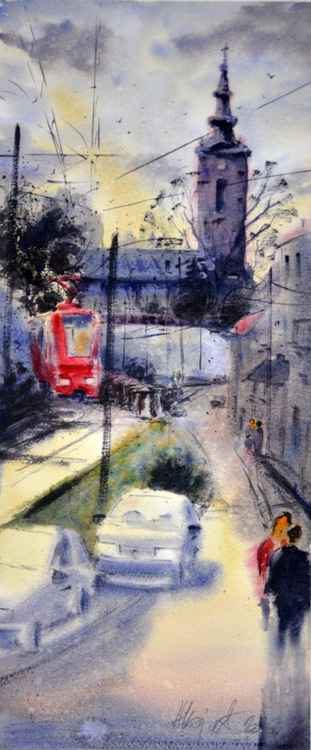 Tram and Synod Church - original watercolor art