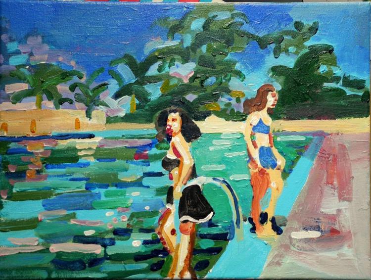 Pool Scene with 2 women - Image 0