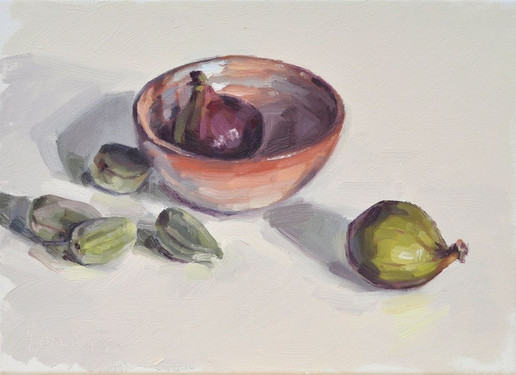 Figs and green almonds, earthenware bowl - Image 0